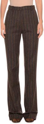 High-Rise Straight-Leg Striped Wool-Blend Pants