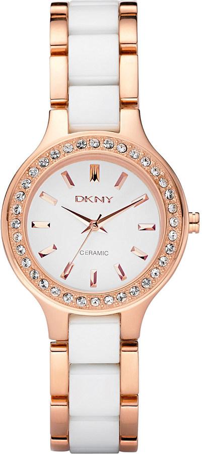 DKNYDkny NY8141 rose gold and ceramic watch