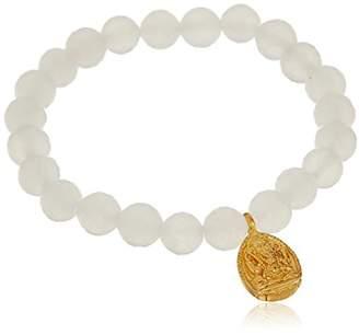 Satya Jewelry 8mm New Jade Gold Om Stretch Bracelet