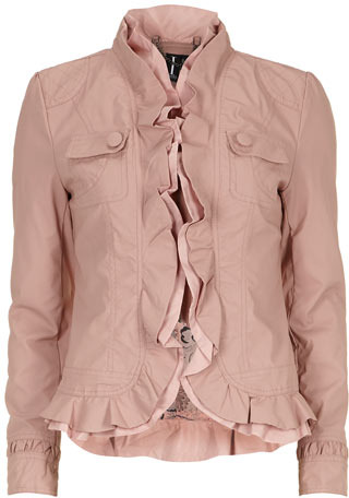 Dorothy Perkins Beige ruffle faux leather jacket