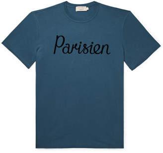 MAISON KITSUNÉ Flocked Cotton-jersey T-shirt - Blue