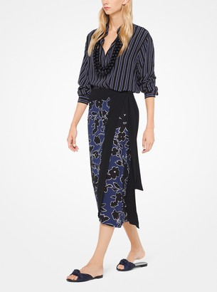 Michael Kors Floral Silk-Georgette Skirt
