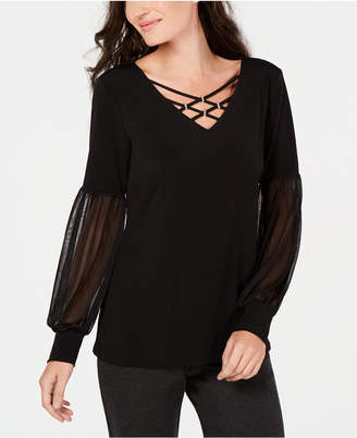 JM Collection Embellished Chiffon-Sleeve Top