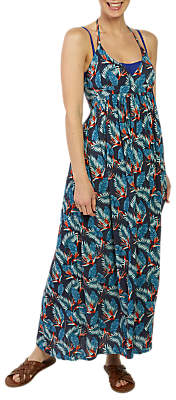 Fat Face Tropical Palm Print Maxi Dress, Navy