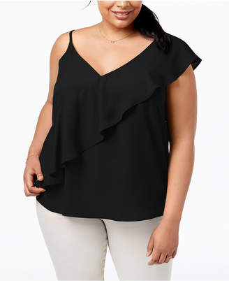 Soprano Trendy Plus Size Ruffled Top