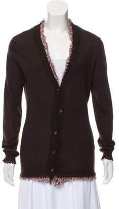 Oscar de la Renta Ruffle-Trimmed Wool Cardigan brown Ruffle-Trimmed Wool Cardigan