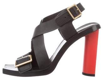 Calvin Klein Collection Leather Buckle Sandals