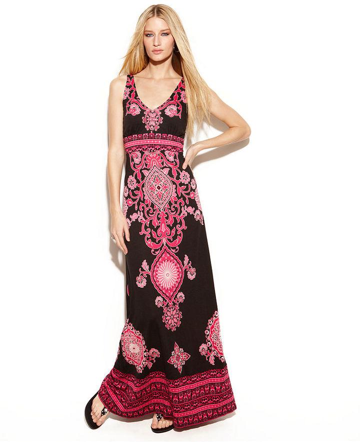 INC International Concepts Dress, Sleeveless Printed Empire Waist Maxi