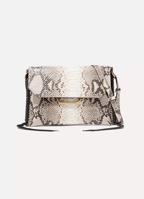 Isabel Marant Sinky Whipstitched Snake-effect Leather Shoulder Bag - Taupe