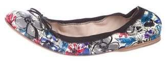 Miu Miu Floral Patent Leather Flats