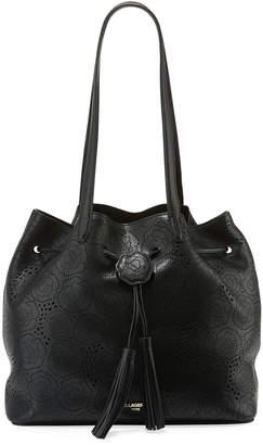Karl Lagerfeld Paris Anya Hermine Perforated Drawstring Bucket Bag