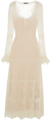 Alexander McQueen - Ruffle-trimmed Shetland Wool-lace Maxi Dress - Cream