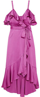 Temperley London Carnation Cold-shoulder Ruffled Satin Midi Dress - Magenta