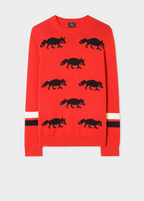 Paul Smith Men's Red Cotton and Wool-Blend 'Urban Fox' Intarsia Sweater