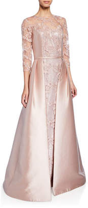 Rickie Freeman For Teri Jon Jewel-Neck 3/4-Sleeve Lace Gown w/ Gazar Overlay & Sequin Underlay