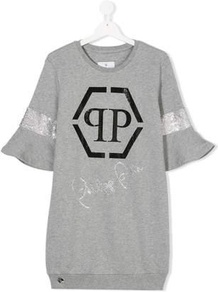 Philipp Plein Junior TEEN logo print sweatshirt dress