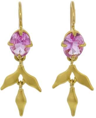 Cathy Waterman Pink Sapphire Lyrical Earrings - Yellow Gold