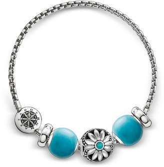 Thomas Sabo Blackened Sterling Silver Bracelet w/Turquoise Howlite Beads