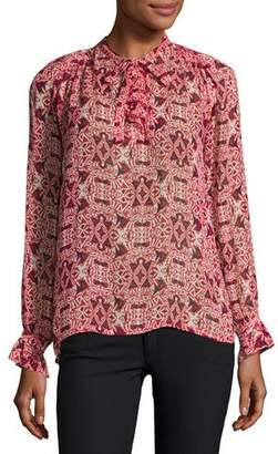 BA&SH High-Neck Long-Sleeve Printed Top