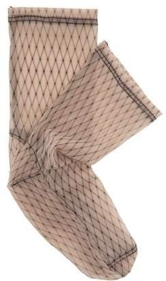 Darner Socks - Fishnet Print Mesh Ankle Socks - Womens - Brown Multi