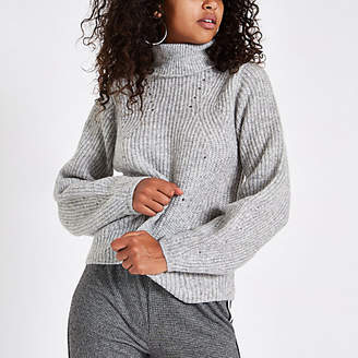 River Island Grey knit roll neck sweater