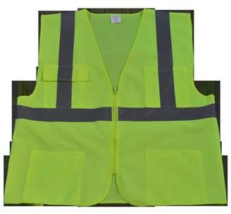 Petra Roc LV24-L-XL Safety Vest Ansi Class Ii Lime All Solid 4 Pocket, Large & Extra Large
