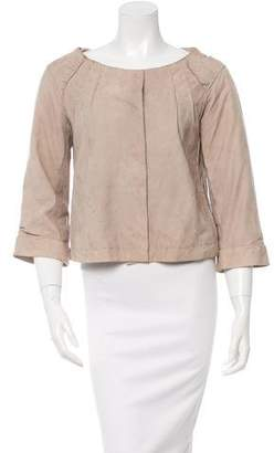 Alberta Ferretti Leather Scoop Neck Jacket
