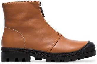 Loewe tan and black Zip front leather ankle boots