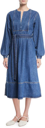 Co Split-Neck Blouson-Sleeve Denim Midi Dress w/ Self Belt