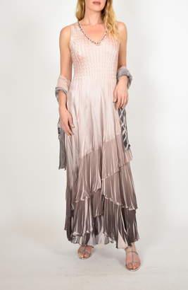 Komarov Layered Maxi Dress with Wrap