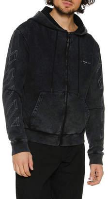 Off-White Men's Diagonal 3D-Line Zip-Front Hoodie