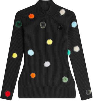 Fendi Ribbed Cashmere Pullover with Mink Fur Pom Poms
