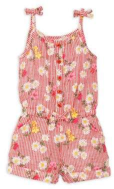 Little Me Baby Girl's Floral Striped Romper