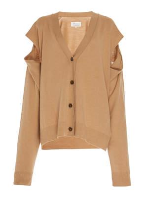Maison Margiela Cutout Wool-Cashmere Cardigan Size: XL