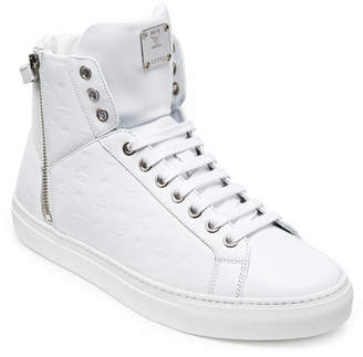 MCM Men's High Top Turnlock Sneakers In Monogrammed Leather