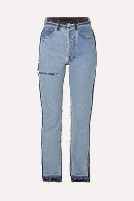 Vetements Reworked Distressed High-rise Slim-leg Jeans - Indigo