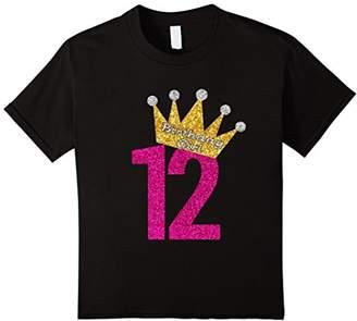 12th Birthday Girl Pink Princess Gold Crown Shirt