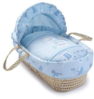 Clair De Lune Ahoy Palm Moses Basket inc. bedding, mattress & adjustable hood (Blue)