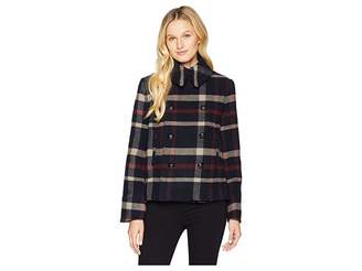 Lauren Ralph Lauren Plaid Wool-Blend Peacoat