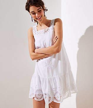 LOFT Eyelet Garden Flippy Dress
