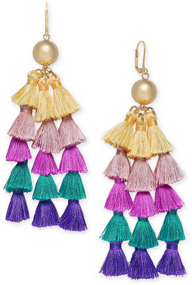INC International Concepts I.N.C. Gold-Tone Ball & Multicolor Tassel Chandelier Earrings, Created for Macy's