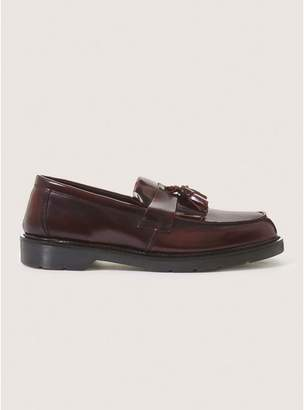 Topman Mens Red Burgundy Leather Slater Penny Loafers