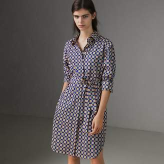 Burberry Tiled Archive Print Cotton Shirt Dress , Size: 08