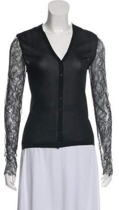 Chanel Lace Trim V-Neck Cardigan Black Lace Trim V-Neck Cardigan