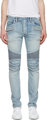 Balmain Blue Distressed Biker Rib Jeans $1,565 thestylecure.com