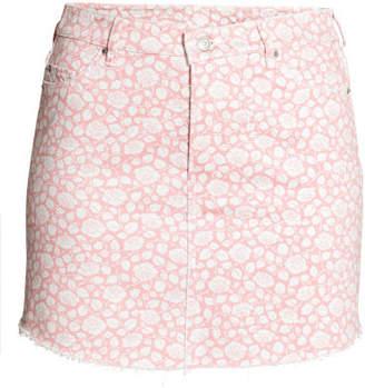 H&M H&M+ Patterned Denim Skirt - White