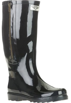 FOREVER YOUNG Forever Young Women's Solid Tall Side Mock Zipper Rain Boot