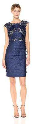 London Times Women's Cap Sleeve Round Neck Sheath Dress w. Lace Inset