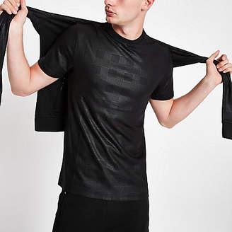 River Island Mens Black tonal check crew neck T-shirt