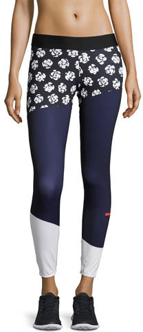 adidas by Stella McCartney Run Climalite Printed Performance Leggings, Black Pattern